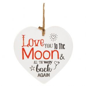 Love You To The Moon And All The Way Back Again' Hanging Ceramic Heart Shaped Sign